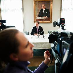 Jyrki Katainen, Primeminister of Finland prepares for pressconference.