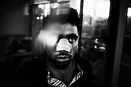 Athens, Greece - Kalhed, 28, Pakistan refugee. On September 17th, 2012, he was attacked in the street by 12 Golden Dawn activists, who beat him up and broke his nose. In Greece, the deep recession due to the Austerity Measures imposed by the Troika (European Union, European Central Bank, and International Monetary Fund) coincided with the worsening in life conditions of both the native population and the immigrant one. The latter had to face not only an enormous increase of poverty and unemployment -often leading to homelessness- but also the rise in popularity of Golden Dawn, an ultranationalist party which got 18 seats in Parliament after June 2012 election. G.D. propaganda and actions are all based on racism and hate towards the foreign communities, blamed to be one of the main causes of the crisis<br /> Bruno Sim&otilde;es Castanheira