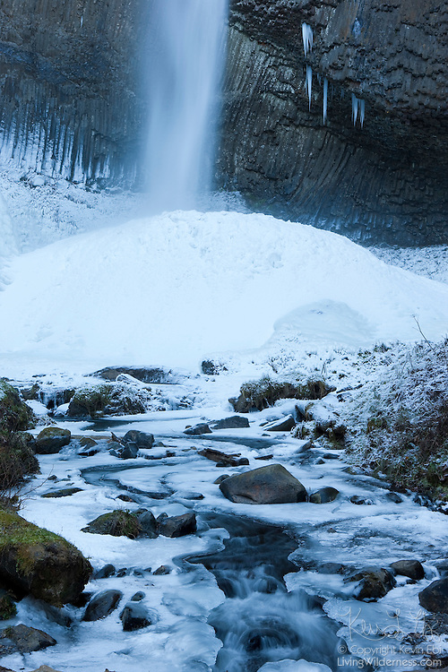 Ice piles up at the base of Oregon's Latourell Falls after a week of below-freezing temperatures. The 249-feet (76-meter) tall waterfall is located along the Columbia River Gorge.