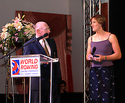 Budapest, HUNGARY, 10/11/2007.  GBR W4X Female Crew of the year [2006],  at the 2007 FISA Coaches Conference. left to right, John BOULTBEE and Katherine GRAINGER. [Mandatory Credit Peter Spurrier/Intersport Images]