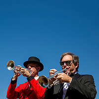 "ARCADIA, CA - OCTOBER 01: The buglers play the ""call to the post""  at Santa Anita Park on October 01, 2016 in Arcadia, California. (Photo by Alex Evers/Eclipse Sportswire/Getty Images)"