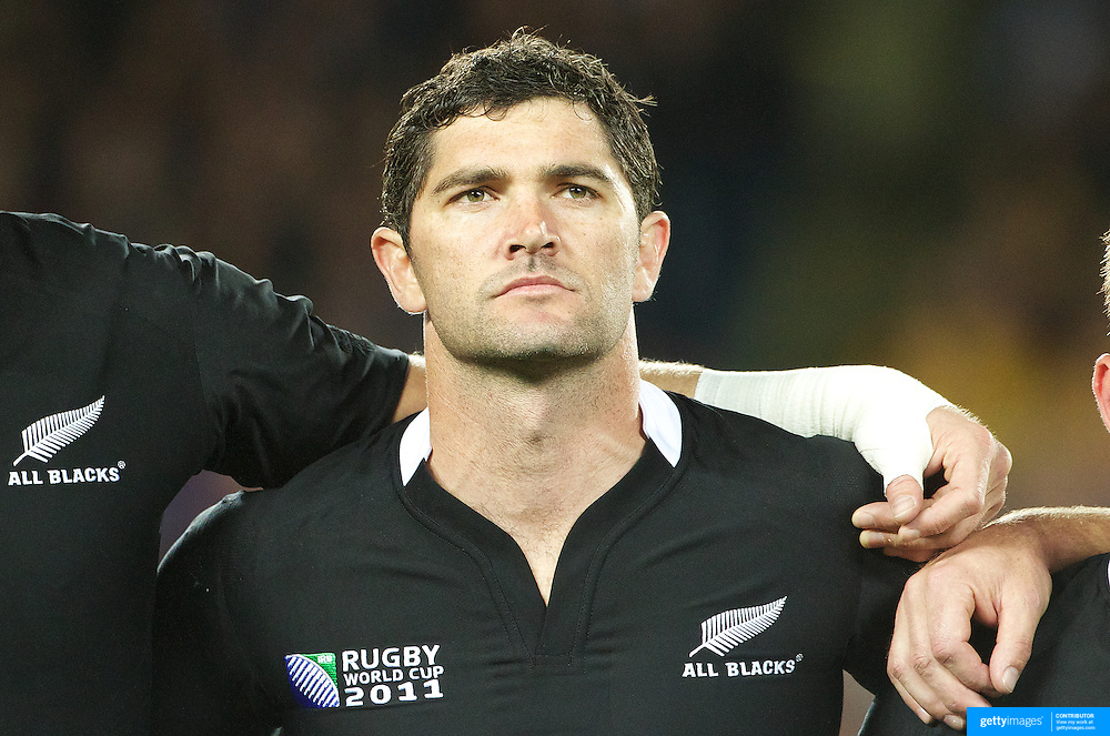 Stephen Donald, New Zealand, during the national anthems before the New Zealand V Australia Semi Final match at the IRB Rugby World Cup tournament, Eden Park, Auckland, New Zealand, 16th October 2011. Photo Tim Clayton...