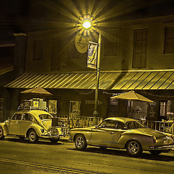 Beautiful Volkswagon Bug & Karmann Ghia in front of Crema Cafe, Cottonwood, AZ. 4 exposure HDR images to create the almost surreal images.