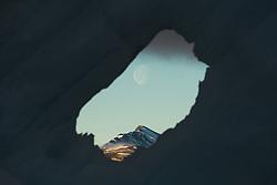 Full moon in  Kongsfjorden in Spitsbergen, Svalbard