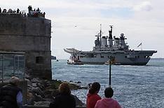 AUG 12 2013 HMS Illustrious leaves Portsmouth Navy Base