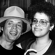 Garland Jeffreys and Phoebe Snow backstage in Central Park at the Dr. Pepper Music Festival in August 1977