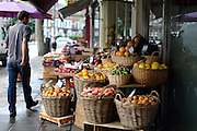 Fruit for sale outside the Bayley & Sage deli on the New King's Road in Parsons Green