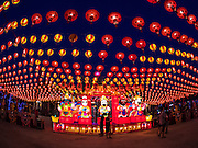 28 JANUARY 2017 - SAMUT PRAKAN, SAMUT PRAKAN, THAILAND: A boy walks through the Chinese New Year Lantern Festival at the Tham Katanyu Foundation shrine in Samut Prakan, a suburb about 15 miles from Bangkok. More than 5,000 handmade lanterns imported from Taiwan are hung on the grounds of the shrine. Some of the lanterns are traditional Chinese lanterns, others are in the shapes of people or deities. There is also traditional Chinese entertainment, likes lion dances, at the festival.     PHOTO BY JACK KURTZ