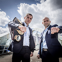 Scott Quigg and Kiko Martinez pose before the Press conference at the Lowry Theatre in Manchester