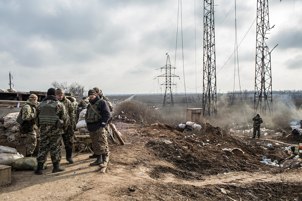 Soldiers from the 1st Mechanized Battalion, 14th Mechanized Brigade of the Ukrainian Army at a front-line position on February 21, 2016 in Mariinka, Ukraine. The Donetsk suburb has been the scene of some of the heaviest fighting recently between Ukrainian forces and pro-Russian rebels.