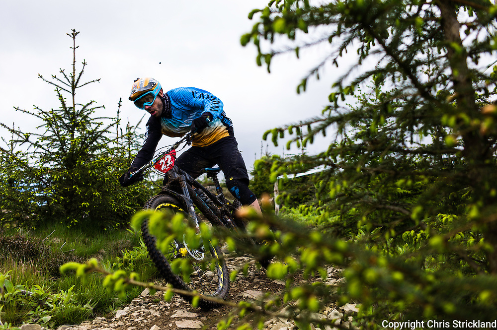 Glentress, Peebles, Scotland, UK. 31st May 2015. Fabien Barel in action at The Enduro World Series Round 3 taking place on the iconic 7Stanes trails during Tweedlove Festival. Mountain bikers came up against eight stages across two days, with an intense 2,695 metres of climbing over 93km. As well as the physicality of the liaisons, the stages themselves are technical, catching many off guard.