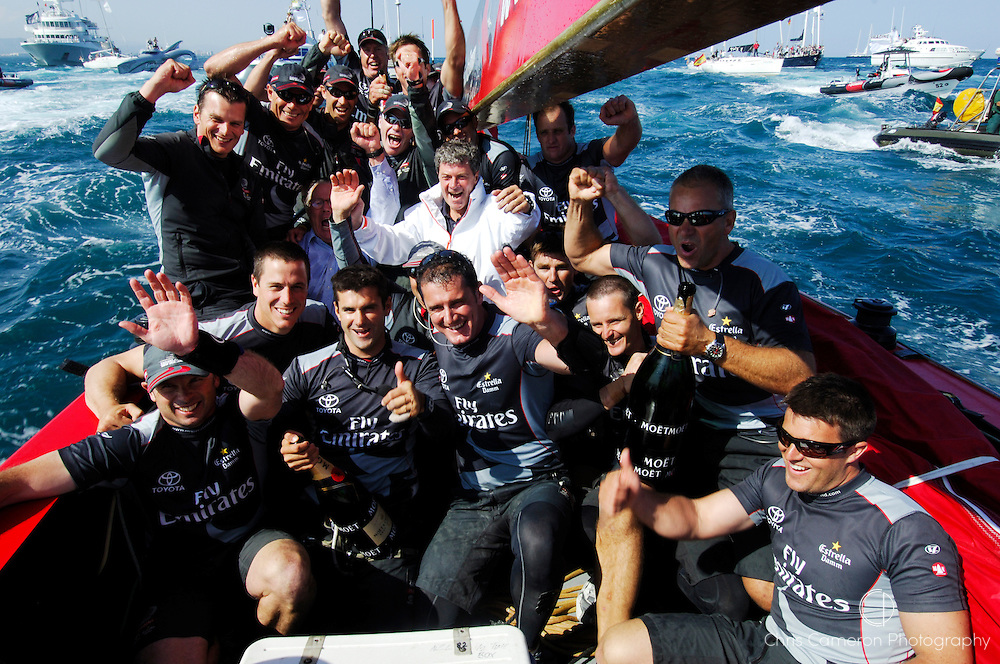 Emirates Team New Zealand crew celebrate with Yves Carcelle, the President and CEO of Louis Vuitton and Bruno Trouble aboard NZL92 after their 5 - 0 win of the Louis Vuitton Cup finals. 6/6/2007