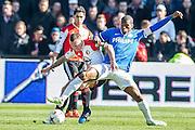 ROTTERDAM  - Feyenoord - PSV , eredivisie , voetbal , Feyenoord stadion de Kuip , seizoen 2014/2015 , 22-03-2015 , Feyenoord speler Jordy Clasie (l) in duel met PSV speler Georginio Wijnaldum (r)