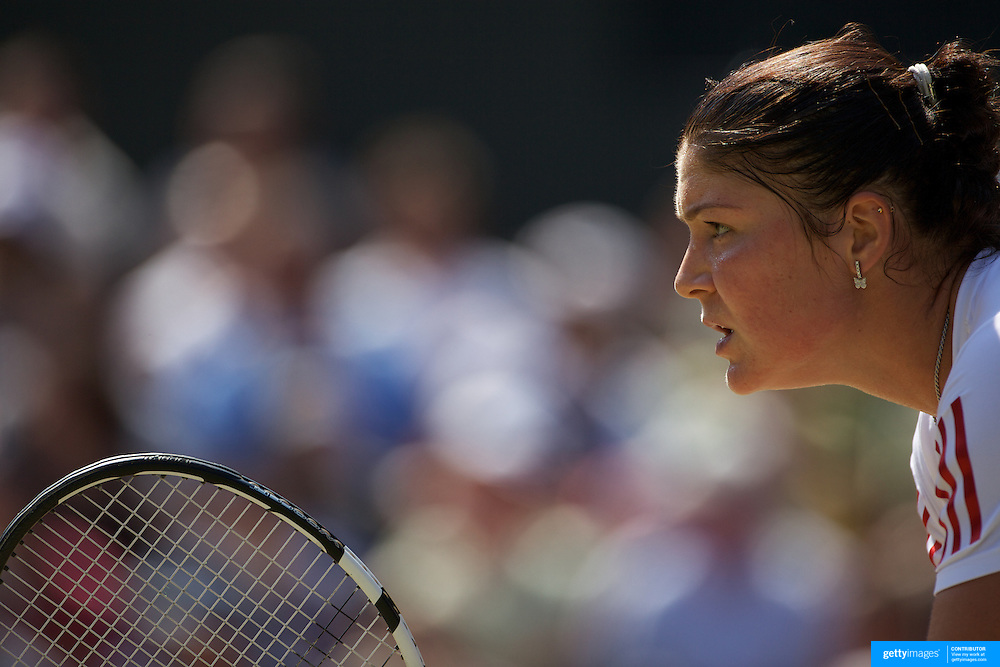 Dinara Safina, Russia, in action during her Quarter Final victory over Sabine Lisicki, Germany, at the All England Lawn Tennis Championships at Wimbledon, London, England on Tuesday, June 30, 2009. Photo Tim Clayton.