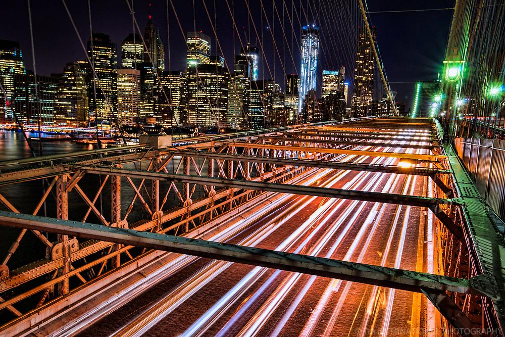 New York City - Evening Traffic, Brooklyn Bridge