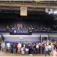 Supporters begin to crowd around the stage before a rally for Barack Obama Thursday at Minges Coliseum. (Jason A. Frizzelle)