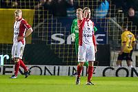 BREDA - NAC - FC Emmen , Voetbal , Jupiler League , Seizoen 2016/2017 , Rat Verlegh Stadion , 16-12-2016 , FC Emmen speler Frank Olijve (r) FC Emmen keeper Wieger Sietsma (m) en FC Emmen speler Jurjan Mannes (l) zijn teleurgesteld