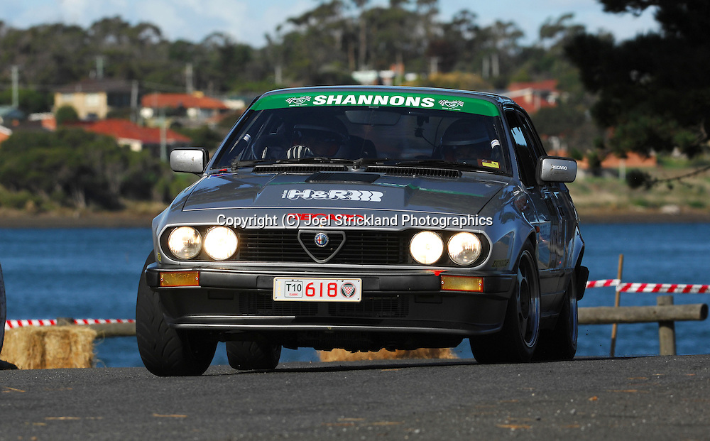 #618 - Peter Heron & Debra Heron - 1981 Alfa Romeo GTV6.Prologue.George Town.Targa Tasmania 2010.27th of April 2010.(C) Joel Strickland Photographics.Use information: This image is intended for Editorial use only (e.g. news or commentary, print or electronic). Any commercial or promotional use requires additional clearance.