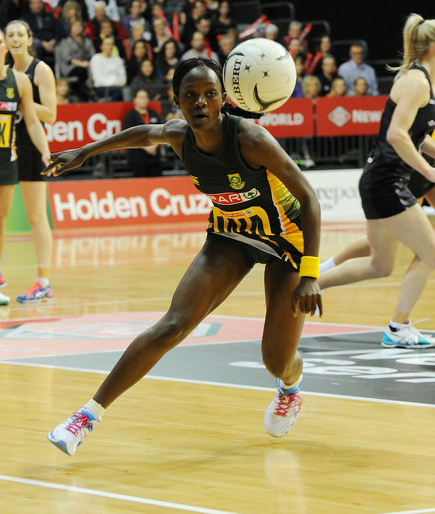 South Africa's Bongiwe Msomi against New Zealand in the International netball match at Claudelands Arena, hamilton New Zealand, Sunday, July 26, 2015. Credit:SNPA / Ross Setford