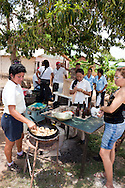 Frying plantains in Belic, Granma Province, Cuba.