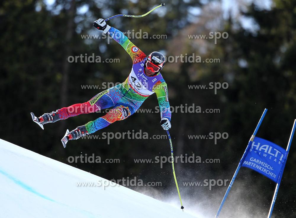10.02.2011, Kandahar, Garmisch Partenkirchen, GER, FIS Alpin Ski WM 2011, GAP, Herren Abfahrtstraining, im Bild Mirko Deflorian (MDA) takes to the air competing in the first men's downhill training run on the Kandahar race piste at the 2011 Alpine skiing World Championships, EXPA Pictures © 2011, PhotoCredit: EXPA/ M. Gunn