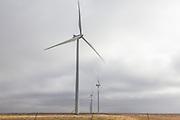 Wind turbines on Interstate 40 east of Amarillo, Texas, Texas Panhandle.