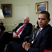 Pres. Obama meets with economic advisor Paul Volcker to discuss the financial crisis in the Oval Office Friday, March 13, 2009...Photo by Khue Bui
