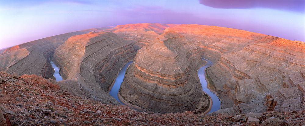 0362-1000LVT ~ Copyright: George H. H. Huey ~  San Juan River and 'incised meanders' at Goosenecks State Park, Utah.