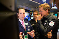 LandRover BAR skippered by Ben Ainslie with team mates David Carr, Nick Hutton, Paul Campbell James, Ed Powys, Matt Cornwell and Jono Macbeth, close he New York Stock Exchange at the end of trading today.<br /> Image licensed to Lloyd Images