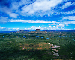Aerial view of Mt Trafalgar in the Prince Regent Nature Reserve in the Kimberley wet season.