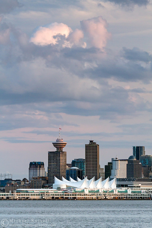 View of Canada Place and other downtown Vancouver buildings from North Vancouver, British Columbia, Canada