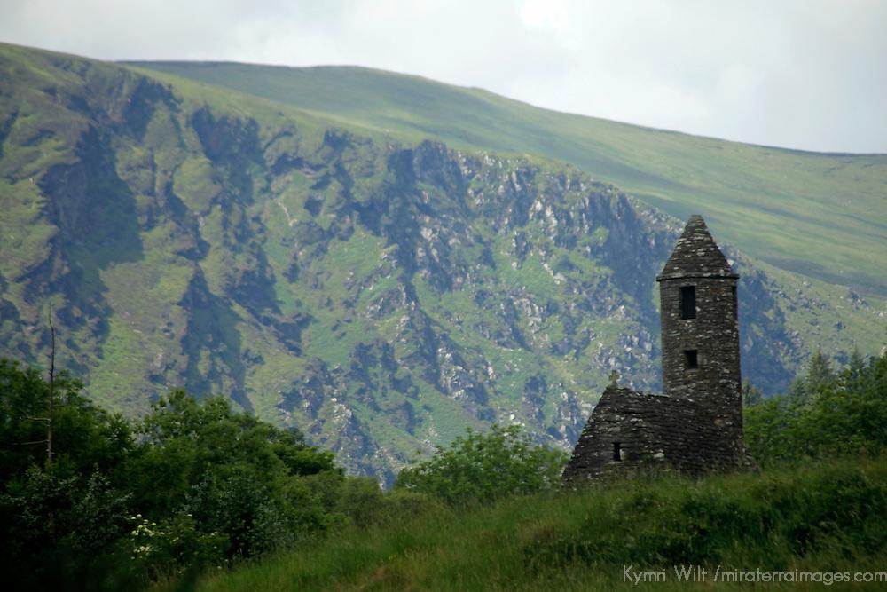 Europe, Ireland, Glendalough. St. Kevin's Church in the scenic Glendalough landscape.