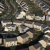 USA, Maryland, Aerial view of houses in sprawling suburbs near Gaithersburg north of Washington, DC