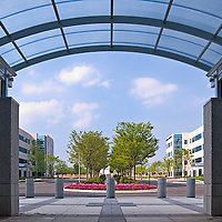 Architectural Photographer of Columbia, MD exterior image of Office buildings from under a canopy by commercial photographer Jeffrey Sauers of Commercial Photographics