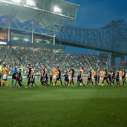 The Philadelphia Union and The Houston Dynamo take the field. The Dynamo and The Philadelphia Union played to a 1-1 tie. Saturday Aug. 6, 2011. at PPL Park in Chester PA...The News Journal/SAQUAN STIMPSON