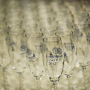 Champagne flutes adorn a table during the 2012 Presidential Reception and Senior Toast in the Martin Centre Field House.