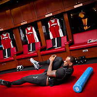 MIAMI, FL -- January 29, 2012 -- Miami forward LeBron James stretches in the Heat's locker room prior to their 97-93 win over the Chicago Bulls at American Airlines Arena in Miami, Fla., on Sunday, January 29, 2012.  (Chip Litherland for ESPN the Magazine)