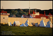 Teepees sit outside reconstructed Fort Union, built 1828 by American Fur Co near Missouri & Yellowstone River confluence; North Dakota