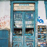 Athens shop front doors, dishes, plates, lanterns, postcards, Greece, Europe.