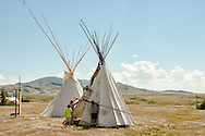 Tipi, setup, Rocky Boy Pow Wow, Rocky Boy Reservation, Montana, fathers and sons