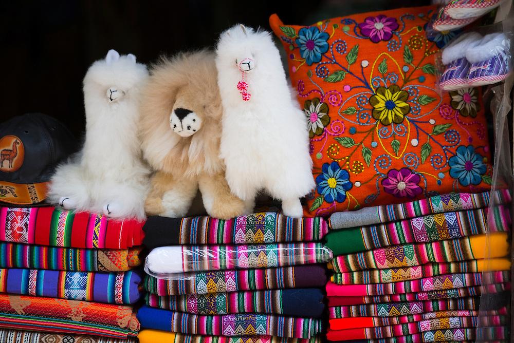 South America, Peru, Lima,textiles in souvenir shop