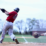William Penn Pitcher Dizhae Henriquez (24) hits a home run during of a varsity scheduled game between the Colonials of William Penn and The St. Elizabeth Vikings Saturday, April 25, 2015, at William Penn High School baseball field in New Castle Delaware.<br /> <br /> William Penn defeats St. Elizabeth 6-5