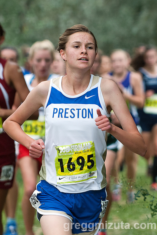 Preston sophomore Aunika Crowther during loop one of the Bob Firman Invitational D2 race (schools under 800)  at Eagle Island State Park in Eagle, Idaho on September 21, 2013. Crowther finished sixth with a time of 20:09.31.