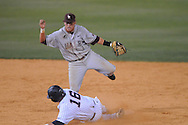 Arkansas-Little Rock's Brock Feldman (1) forces out Mississippi's Matt Smith and throws to first for a double play at Oxford-University Stadium in Oxford, Miss. on Wednesday, April 7, 2010. Arkansas-Little Rock won 9-6.
