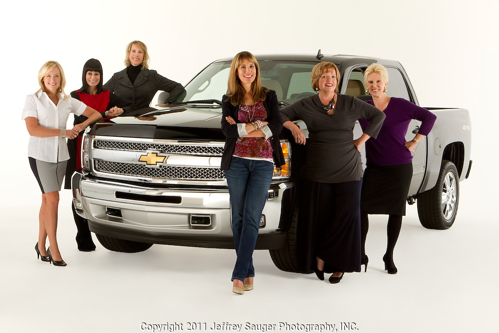 ROYAL OAK, MICHIGAN - OCTOBER 12: From left: Kim Brink, Andrea Riley, Michelle Lange, Kathy Speck, Candace Haag, and Dannielle Hudler pose with a Chevy Silverado pickup truck in Royal Oak, MI, Wednesday, October 12, 2011.  (Jeffrey Sauger/Getty Images for AdAge)