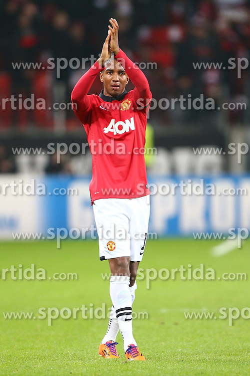 27.11.2013, BayArena, Leverkusen, GER, UEFA CL, Bayer Leverkusen vs Manchester United, Gruppe A, im Bild Ashley Young (Manchester United), Jubel, Freude, Emotionen // during UEFA Champions League group A match between Bayer Leverkusen vs Manchester United at the BayArena in Leverkusen, Germany on 2013/11/28. EXPA Pictures &copy; 2013, PhotoCredit: EXPA/ Eibner-Pressefoto/ Neis<br /> <br /> *****ATTENTION - OUT of GER*****