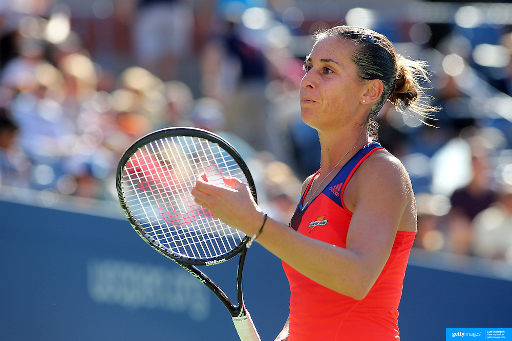 Flavia Pennetta, Italy, in action against Victoria Azarenka, Belarus, during the Women's Singles Semi Final at the US Open. Flushing. New York, USA. 6th September 2013. Photo Tim Clayton