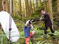 Portrait of Geoffrey Castle, violinist.  Little Si trail, Cascade Mountains near Northbend, WA.