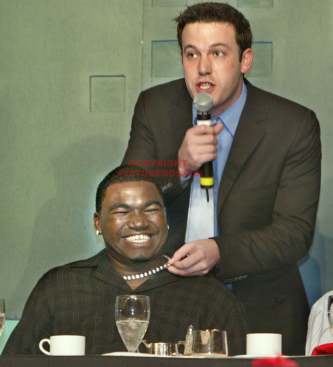 Ben Affleck fools around with Boston Red Sox star David Ortiz at a charity event. photo by Mark Garfinkel