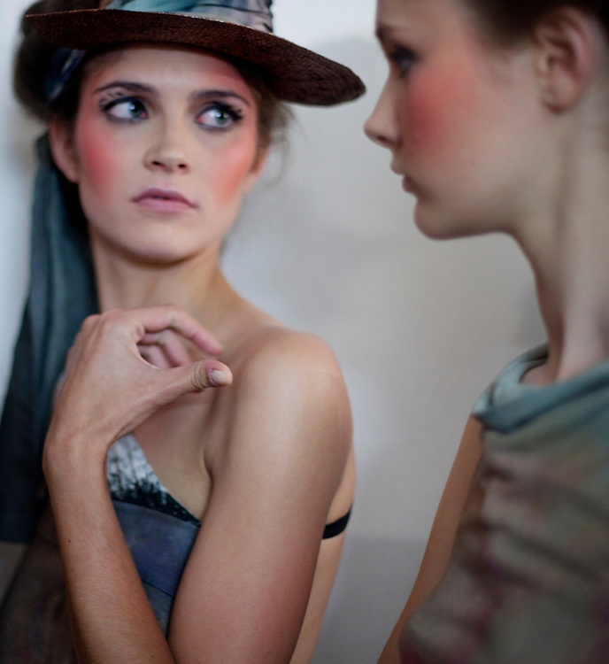 Models, Berlin, 2009...PORTFOLIO...Models waiting backstage at the Je Suis Belle show during Berlin Fashion Week. .Berlin is an up and coming fashion city, struggeling to reach the level of London, Paris and Milan...Photo: Andrea Gjestvang/MOMENT